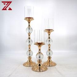 Usine de gros de métal de style européen avec boule de cristal porte-bougie pour mariage decoration