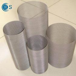 Alrededor de ligamento tafetán tejido de malla de alambre de acero inoxidable cilindros filtro