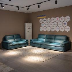 Muebles chinos al por mayor salón sofá de cuero auténtico completo marco de madera muebles Sofa Fp-Fs450 1+2+3