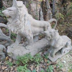La decoración de jardín de piedra de granito de animales de la naturaleza a pie de Mármol de León