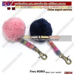 Брелок для ключей Fur Pompom брелок Custom Logo Рекламная акция Customized Stainless Стальной плюшевой держатель для ключей (G8034)
