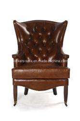 Chesterfield roi Dos haut Fauteuil Vintage fauteuil en cuir marron clair pour les meubles de salle de vie