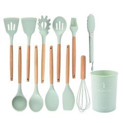 12PCS Silicone Non-Stick utensílios de cozinha espectáculo de silicone de utensílios de cozinha define com pega de madeira