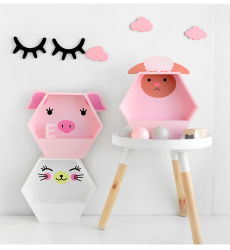 솔리드 우드 새 디자인 어린이 객실 장식용 카툰 귀 모양 목재벽 걸이판 소형 선반 공예
