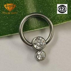 Het Lichaam die van de Juwelen van de manier het Zilveren Doordringen van het Titanium van Juwelen G23 Stevige met de Ring Tpn026 doordringen van de Neus van Stenen