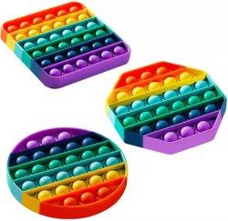 Cor Venda quente estresse Silicone aliviar o arco-íris sensorial Bolha Push-Pop Fidget jogo Toy
