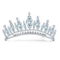 La belleza de cristal brillante CZ Corona nupcial Tiara Accesorio de joyas