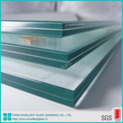 5.38mm-12.76mmの端の磨かれた和らげられたか、または強くされた薄板になる明確なか着色された安全ガラス建物の