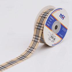Beige Black Woven Wire Borged Tartan Ribbon
