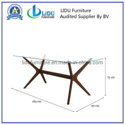 Vente d'usine de haute qualité de la Promotion de vente chaude Table à manger en bois Designs grande table en bois rectangulaire plateau en verre avec les jambes en bois