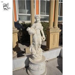 Fille Sclpture religieuse détenant une sculpture en marbre de godet Mfsy-43