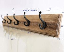 Vintage monté sur un mur en bois rustique enduire rack avec 5 crochets de fer solide