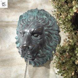 Tête de Lion florentine de débiter des mur du jardin de sculpture de bronze Bfsy-95