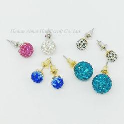 La mode de boule de cristal de l'oreille en métal Stud Earrings