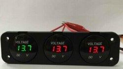 O Medidor de bateria triplo & Carro Voltímetro LED Triplo Voltímetro 12V-24V
