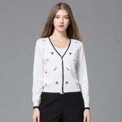 2018 Nouveau Mesdames Printemps/Automne Cardigan pullover en tricot enduire avec couleur avec gros bouton