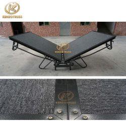 Kenzo plegable de acero de la plataforma móvil de la etapa con alfombra