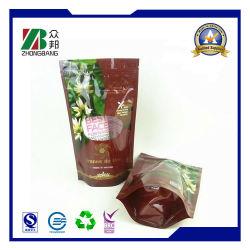 Plastic Tribune op de Zak van de Verpakking van het Voedsel van de Ritssluiting met Resealable Ritssluiting