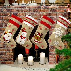 Nuove decorazioni natalizie Calze regalo Old Man Snowman Cervi Snowflake lino ricamato giocattolo di Natale
