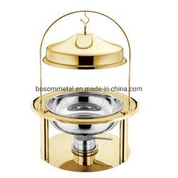 ステンレススチール、金、銀クラウンチャフィングを提供する新しいスタイルのキッチウェアパーティー 皿