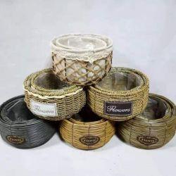 Jarrón de flores cajas de almacenamiento de varios tejidos naturales de algas de paja de la ronda de la cesta cesta de mimbre de la sembradora