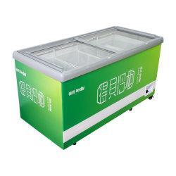 商用フラットガラススライドドア氷クリーム保存アイランドチェストディープディスプレイフリーザーキャビネット冷蔵庫スーパーマーケット用冷凍冷蔵庫 400-500L 、 SD389