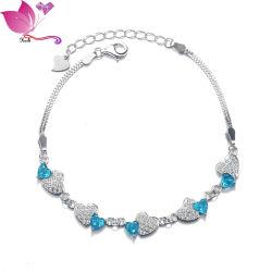 قلب فضي Hld20 Sterling مع قلب مزدوج بلون بلوري أزرق مجوهرات الأشكال