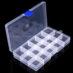 15 grilles réglables claire Bijoux cordon Case Cas conteneur de stockage de l'organiseur