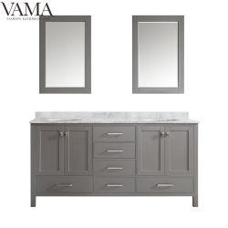 Vama 72 pouces de nouveau double bols de meubles de grande taille Salle de bains en bois massif de la vanité 723072