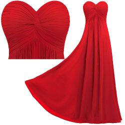 Bustier mujer criss cross pliegue Imperio Rojo vestidos de Chiffon Bridesmaid largo vestido de boda