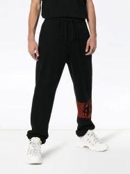 Logotipo personalizado de los hombres Casual pantalones pista larga de algodón negro.