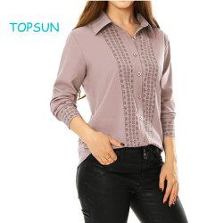 Women's Rose chemise d'affaires Tile Imprimer Point manches longues col de l'usure du bouton