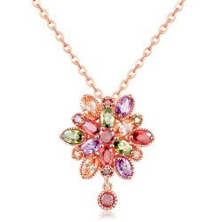 Neue Dreidimensionale, Farbenfrohe Halskette Mit Rautenmuster Und Zirkon-Kette Mit Dreidimigem Hohlkettenschmuck