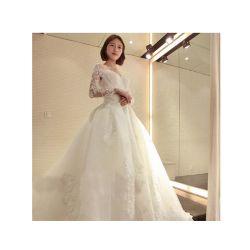 Off-encolure en V de l'épaule les filles manche longue robe de mariée robe de mariée