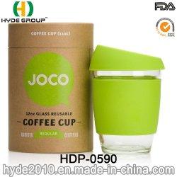 De populaire 12oz Opnieuw te gebruiken Kop van het Water van het Glas met de Koker van het Silicone (hdp-0590)