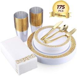 175部分の金のディナー・ウェアは25個のゲスト50の金のレースのプラスチック版25の金のプラスチック銀器25の金のプラスチックコップ25を金の紙ナプキンのようにリネンセットした