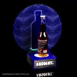 Bouteille d'acrylique personnalisée Présentateur Vin Bière Présentoir acrylique glorifier d'éclairage de la bouteille à LED