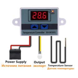 O controlador de temperatura LED digital Xh-W3001 para Interruptor de Aquecimento de refrigeração de incubadora Termostato Sensor NTC10A 12V 24V 220V AC