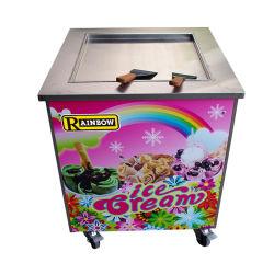 Froid commercial de haute qualité unique de la crème glacée Pan plat frit Machine Mini Rolling frit rouleau thaïlandais de la glace de la crème glacée de la machinerie de geler la surface de glace de la plaque froide de la machine