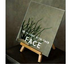 4mm DIY Silkscreen Design Home Decoratie Dest Top Table Top Spiegel met ronde Poolse rand