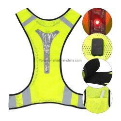 Het hoge LEIDENE van het Vest van het Zicht Vest van de Veiligheid met LEIDENE Weerspiegelende Strepen voor, en Activiteiten die van het Verkeer van de Nacht de Openlucht lopen werken lopen cirkelen