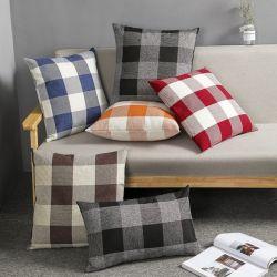 Fabriek lage prijs Pillow Plaid Populair linnen gooien Pillow cover