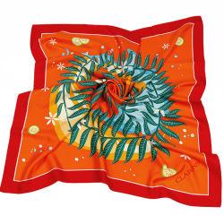 Señoras la moda de alta calidad personalizado impreso Pañuelo de seda Kerchief hechas a mano para dama con el logotipo de la mujer