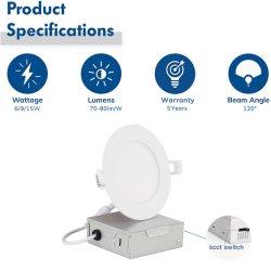مصابيح LED الدوارة في المملكة المتحدة مع علبة ملتقى الطرق 4 بوصات رفيعة جدًا إنارة قابلة للتخفيت قابلة للتخفيت قابلة للتخفيت سطوع عالٍ 9W 5CCT Daylight من خلال ETL