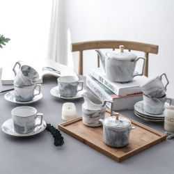 POT di marmo di ceramica del latte del POT dello zucchero della scrematrice della tazza e del piattino del POT del caffè del tè dell'insieme di caffè del tè della porcellana