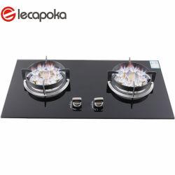 Коммерческие Производство стеклянной верхней 2 Двойных две конфорки прибор на кухне газовая плита газовая горелка газовой плитой