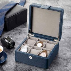 Neuer Entwurfs-kundenspezifisches Blau PU Quadratischer Uhr-Kasten-Spitzenuhr-Kasten