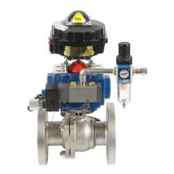 Hierro fundido neumática o tipo de válvula de bola flotante con actuador