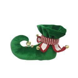 卸し売りクリスマスのエルフのタイプペット靴はクリスマスのエルフの靴を感じた ベルを使用