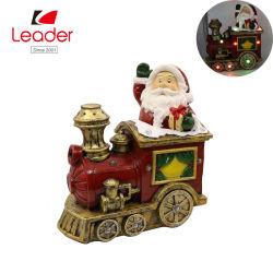 Figurine Polyresin Santa avec éclairage LED pour la décoration d'accueil